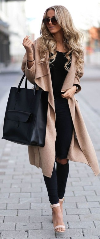 Nail glam in a tan coat and black destroyed slim jeans. Complement this look with beige leather heeled sandals.