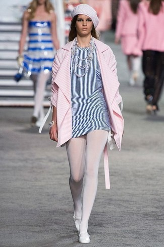 How to Wear White Leather Ballerina Shoes: If you appreciate the comfort look, pair a pink vertical striped coat with a white and blue vertical striped tunic. Amp up this outfit by slipping into white leather ballerina shoes.
