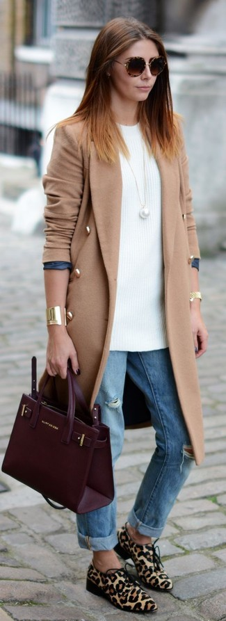 How to wear: camel coat, white knit tunic, light blue ripped boyfriend jeans, beige leopard calf hair derby shoes