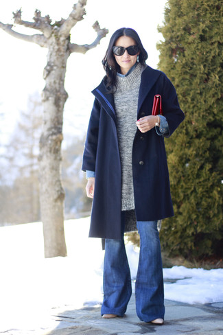 How to wear: navy coat, grey knit tunic, blue denim shirt, blue flare jeans