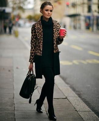 How to wear: camel leopard coat, black knit tunic, black leggings, black leather ankle boots