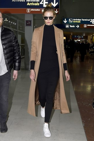 How to wear: camel coat, black knit tunic, black skinny pants, white leather low top sneakers