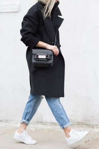 How to wear: black coat, black knit turtleneck, blue ripped boyfriend jeans, white low top sneakers