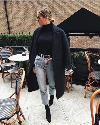 How to wear: black textured coat, black turtleneck, light blue boyfriend jeans, black elastic ankle boots