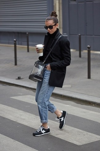 How to wear: black coat, black wool turtleneck, light blue boyfriend jeans, black and white athletic shoes