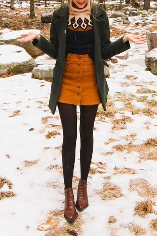 How to wear: olive coat, black print wool turtleneck, orange corduroy button skirt, brown leather lace-up ankle boots