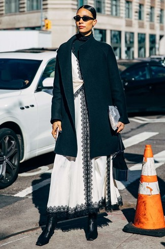 How to Wear White and Black Dress: Putting together white and black dress and a black coat is a guaranteed way to breathe personality into your wardrobe. If you want to feel a bit fancier now, throw in black leather ankle boots.