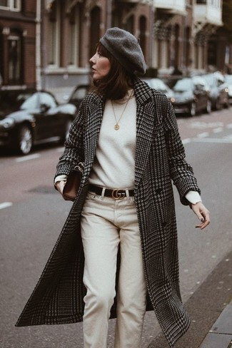 How to wear: black and white houndstooth coat, white turtleneck, beige chinos, dark brown leather clutch