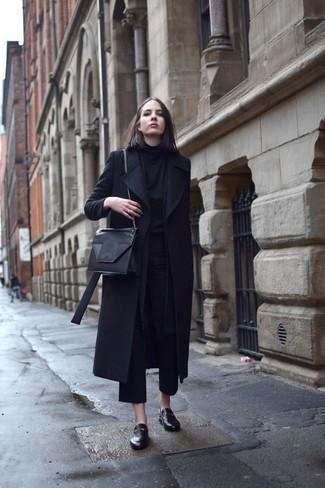 How to wear: black coat, black turtleneck, black culottes, black leather loafers