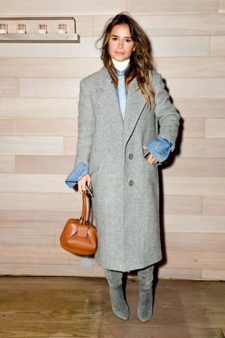 Miroslava Duma wearing Grey Coat, White Turtleneck, Blue Denim Shirt, Grey Suede Knee High Boots