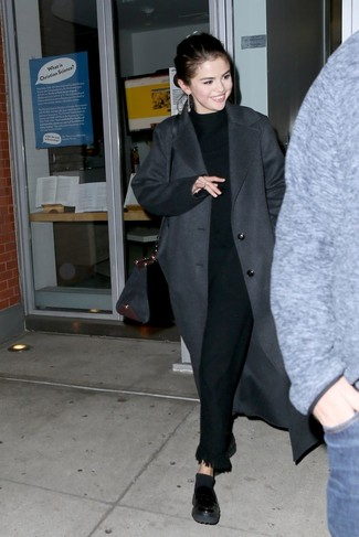 How to wear: charcoal coat, black turtleneck, black fringe dress pants, black leather platform loafers