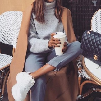 How to Wear White Athletic Shoes For Women: Such must-haves as a camel coat and grey dress pants are an easy way to inject extra chic into your day-to-day rotation. Add white athletic shoes to this look to make a mostly dressed-up outfit feel suddenly fresh.