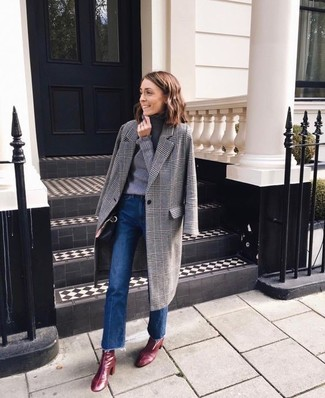 How to wear: grey plaid coat, grey turtleneck, blue flare jeans, burgundy leather ankle boots