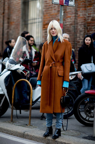 How to wear: tobacco coat, light blue turtleneck, light blue jeans, black leather ankle boots