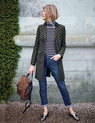 An olive polka dot coat and navy jeans are a great outfit formula to have in your arsenal. Play down the casualness of your ensemble with silver leather tassel loafers. These picks will keep you toasty and stylish in unpredictable fall weather.