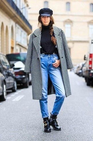 How to wear: white and black houndstooth coat, black turtleneck, blue jeans, black cutout leather ankle boots