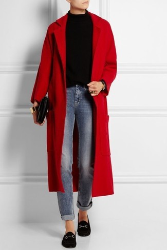 Wear a red coat with blue jeans to bring out the stylish in you. Round off this look with J.Crew Charlie Penny Loafers In Suede. Naturally, a look like this will keep you warm and stylish, rain or shine.