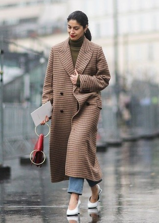 How to wear: brown check coat, olive turtleneck, blue jeans, white leather mules