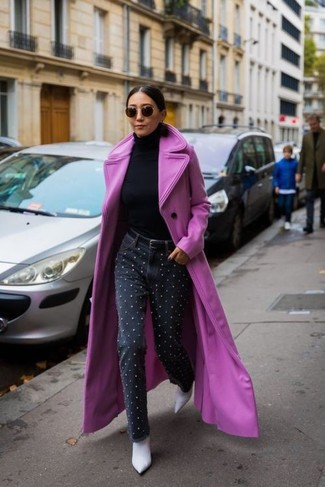 How to wear: hot pink coat, black turtleneck, black embellished jeans, white leather ankle boots