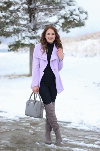 How to Wear a Light Violet Coat For Women: Want to inject your wardrobe with some casual cool? Pair a light violet coat with black leggings. For something more on the sophisticated side to complete your outfit, complement your look with grey suede over the knee boots.
