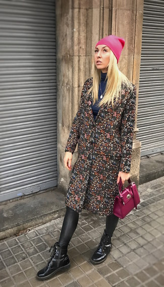 How to Wear a Purple Crossbody Bag: You'll be amazed at how easy it is to get dressed this way. Just a black floral coat married with a purple crossbody bag. For extra style points, introduce black leather lace-up ankle boots to the equation.