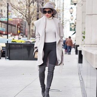 How to wear: beige coat, beige turtleneck, charcoal leggings, grey suede over the knee boots
