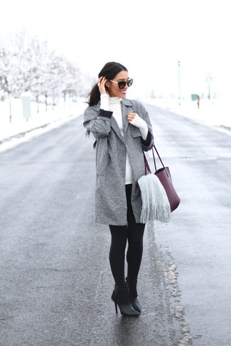 How to wear: grey coat, white turtleneck, black leggings, black fringe leather ankle boots