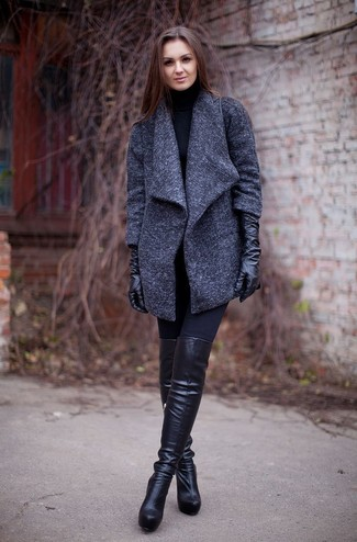 To create an outfit for lunch with friends at the weekend opt for a dark grey coat and black leggings. Let's make a bit more effort now and make black leather over the knee boots your footwear choice.