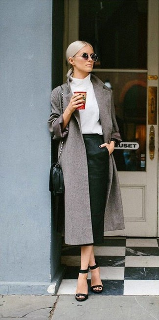 Show off your sophisticated side in a grey coat and a Rag & Bone Baha Skirt. With shoes, opt for a pair of black leather heeled sandals. This getup is our idea of perfection for those warm springtime days.