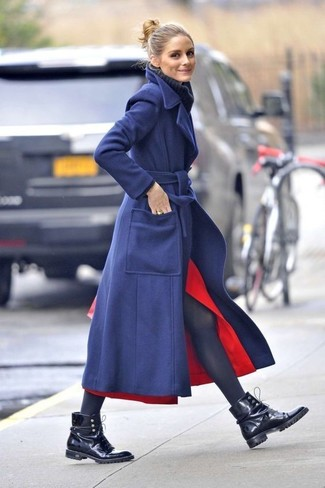 How to wear: navy coat, navy knit wool turtleneck, red slit midi skirt, black leather lace-up flat boots