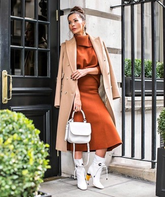 How to Wear White Leather Ankle Boots: For a classic and casual ensemble, marry a camel coat with a tobacco wool midi skirt — these pieces play beautifully together. When it comes to shoes, throw in white leather ankle boots.