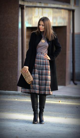 How to wear: black coat, grey turtleneck, grey plaid midi skirt, black leather knee high boots