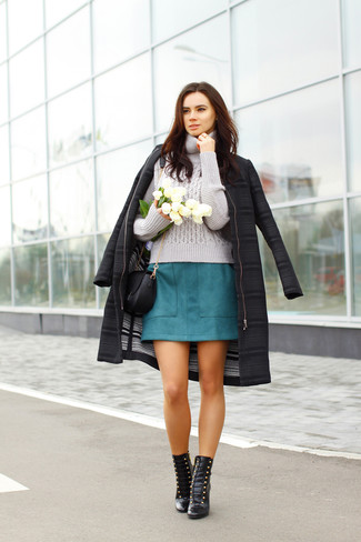 Consider teaming a black coat with a teal mini skirt for a Sunday lunch with friends. Round off this look with black leather lace-up ankle boots.