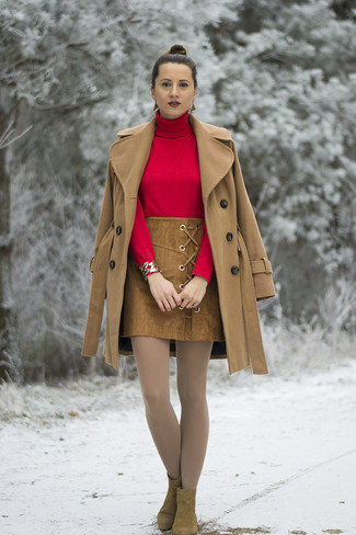 How to wear: camel coat, red turtleneck, brown suede mini skirt, brown suede ankle boots