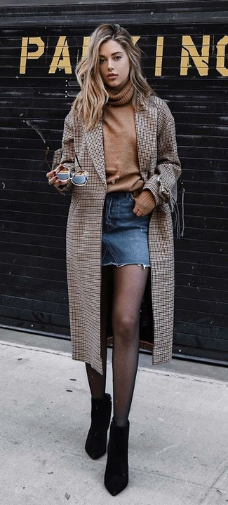 How to wear: brown check coat, tan wool turtleneck, blue denim mini skirt, black suede ankle boots