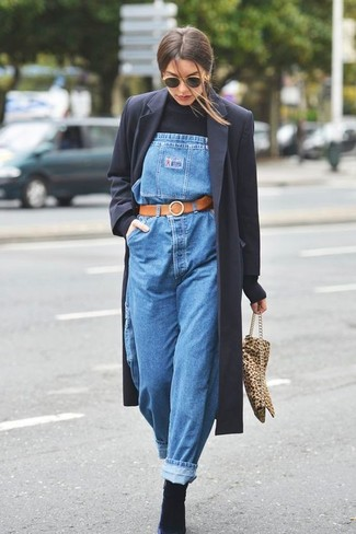 How to wear: black coat, black turtleneck, blue denim overalls, black suede ankle boots