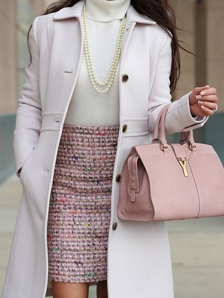 For a cool-meets-chic look, consider teaming a pale pink coat with a pink pencil skirt — these two items work perfectly well together. You can bet this combination is great when spring sets it.