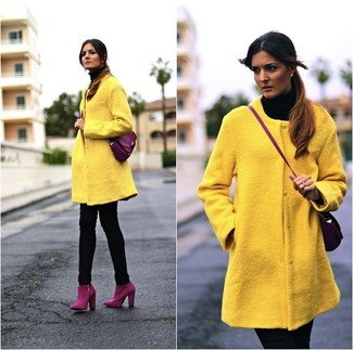 How to wear: yellow coat, black turtleneck, black skinny jeans, purple suede ankle boots