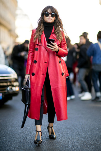 Miroslava Duma wearing Red Leather Coat, Black Turtleneck, Black Skinny Jeans, Black Cutout Leather Ankle Boots