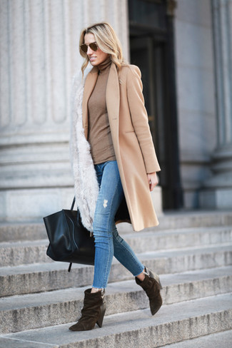 How to wear: camel coat, tan turtleneck, blue ripped skinny jeans, dark brown suede ankle boots