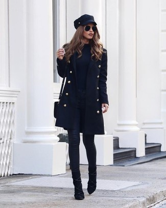 A black coat and a fisherman cap are a smart combination that will earn you the proper amount of attention. Balance this ensemble with black suede booties. There's no nicer way to cheer up a dreary fall afternoon than a cute outfit like this one. (Ok, maybe there are a couple.)