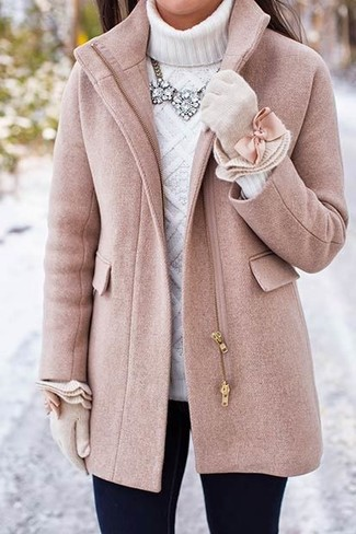 How to wear: pink coat, white knit turtleneck, black skinny jeans, beige wool gloves