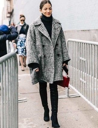 How to wear: grey plaid coat, black knit turtleneck, blue skinny jeans, black suede over the knee boots