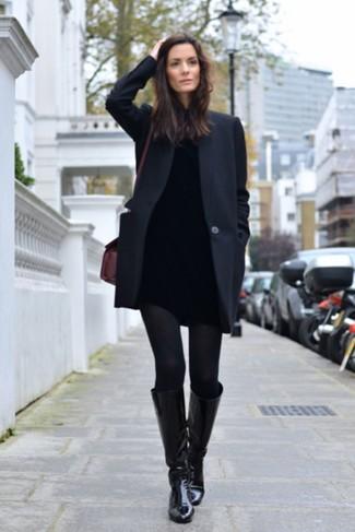Black Alpaca And Wool Eve Long Coat
