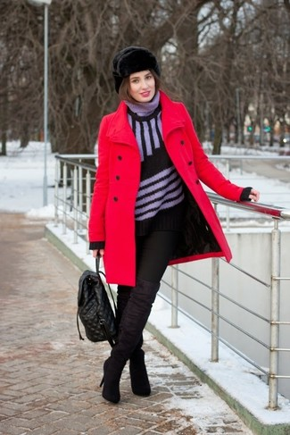 For an outfit that's very simple but can be dressed up or down in a myriad of different ways, try teaming a red coat with a fur hat. Black suede thigh high boots work spectacularly well with this look. Seeing as temps are dropping, this getup is a great pick for the transitional season.