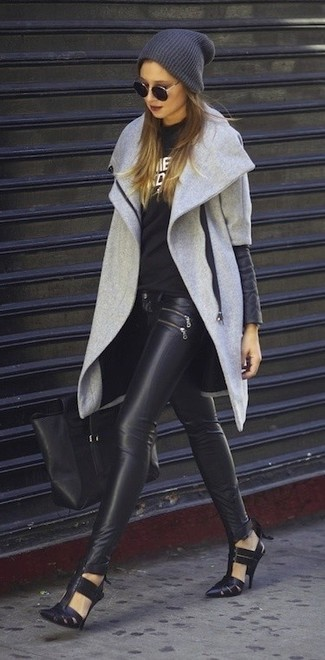 Perfect the smart casual look in a grey coat and black leather skinny pants. PeepToe Gambas Cut Out Shoes look awesome here. If you feel uninspired by your fall fashion options, this getup just might be the inspo you are looking for.