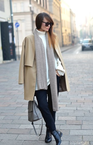 How to wear: camel coat, white turtleneck, black skinny pants, black leather ankle boots