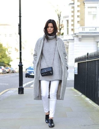 How to wear: grey coat, grey knit turtleneck, white skinny pants, black leather loafers