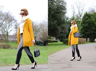 How to wear: mustard coat, white turtleneck, grey sweatpants, black suede pumps