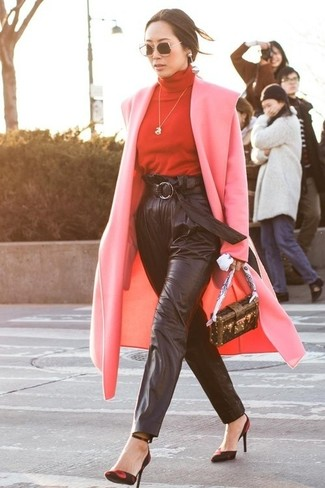 How to wear: pink coat, red turtleneck, black leather tapered pants, red and black suede pumps